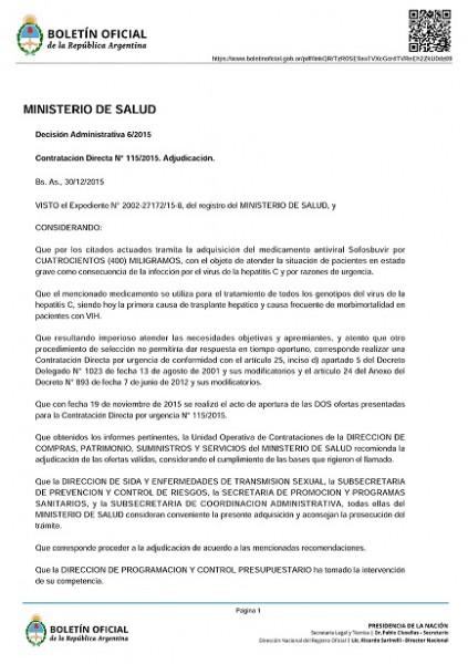 BBBBBBBBBBBBBB1 423x600 El Ministerio de salud Argentino aprobó la compra de Sofosbuvir para tratamientos para tratamientos de Hepatitis C