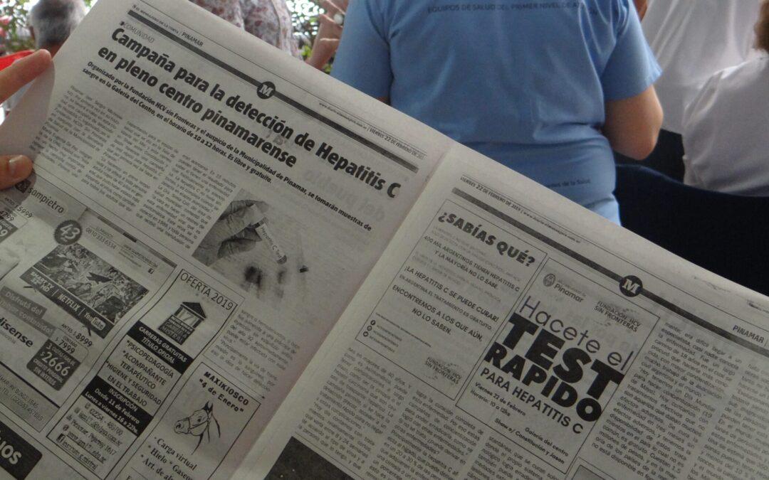 Test rápidos para hepatitis C en Pinamar .Campaña permanente